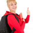 Young woman with thumb up — Stock Photo