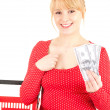 Shopping woman with dolars - Stock Photo