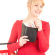 Woman with euro bills in wallet — Stock Photo