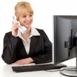 Calling business woman with computer — Stock Photo #11049985