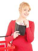Mujer con billetes de euro en cartera — Foto de Stock