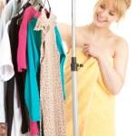 donna in spogliatoio — Foto Stock