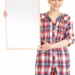 Woman keeping blank poster — Stock Photo