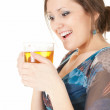 Cheerful girl with the mug of beer — Stock Photo