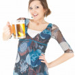 Foto de Stock  : Young womwith mug of beer