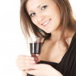 Young woman with red wine — Stock Photo #11050607