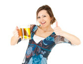 Girl with the mug of beer and thumb up — Stock Photo