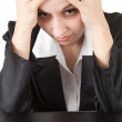 Businesswoman with headache - Stock Photo