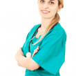 Woman doctor in green uniform — Stock Photo