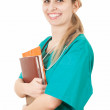 Woman doctor in green uniform — Foto de Stock