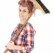 Young womwith cleaning sweep — Stock Photo #11091481