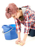 Piso limpieza joven — Foto de Stock