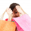 Smiling shopping girl with bags — Stock Photo