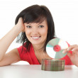 Young woman with cd or dvd — Stock Photo