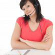 Businesswoman with headset — 图库照片