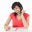 Businesswoman with headset — Stock Photo