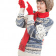 Pointing woman in winter clothes — Foto Stock