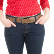 Woman with hand in pocket — Stock Photo