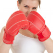 Angry girl in boxing gloves — Stock Photo #11935964