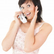 Calling cheerful girl — Stock Photo