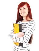 Casual girl keeping books — Stock Photo