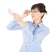 Businesswoman with a dollar bill — Stock Photo