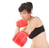 Luvas de boxe luta menina — Foto Stock