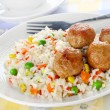 Royalty-Free Stock Photo: Meatballs with rice and vegetables