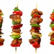 Fried skewers isolated on a white background - Stock Photo