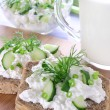 Stock Photo: Sandwich with cottage cheese, cucumber and chives