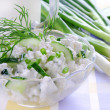 Cottage cheese with cucumber,chives and dill — Stock Photo