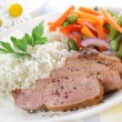 Rice with pork meat - Stock Photo