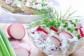 Fromage cottage aux radis, ciboulette et aneth — Photo