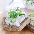 Sandwich with cottage cheese — Stock Photo