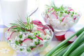 Cottage cheese with radish,chives and dill — Stock Photo