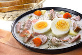 Delicious sour soup with egg — Stock Photo