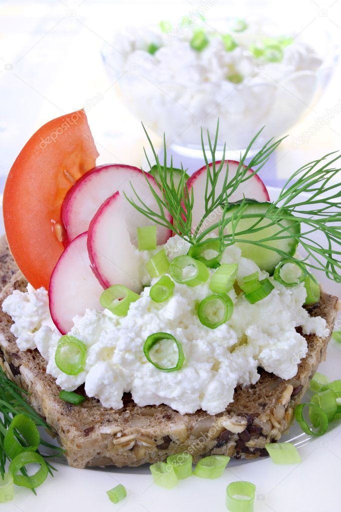 Sandwich with cottage cheese, cucumber,radish and tomato — Stock Photo #11835252