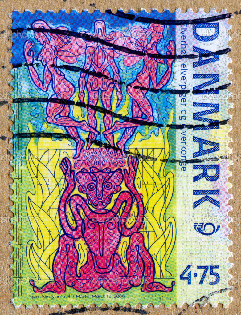 DENMARK - CIRCA 2006: stamp printed by Denmark, shows Creatures in Norse Mythology, Elf king and elf girls, circa 2006  Stock Photo #10759072
