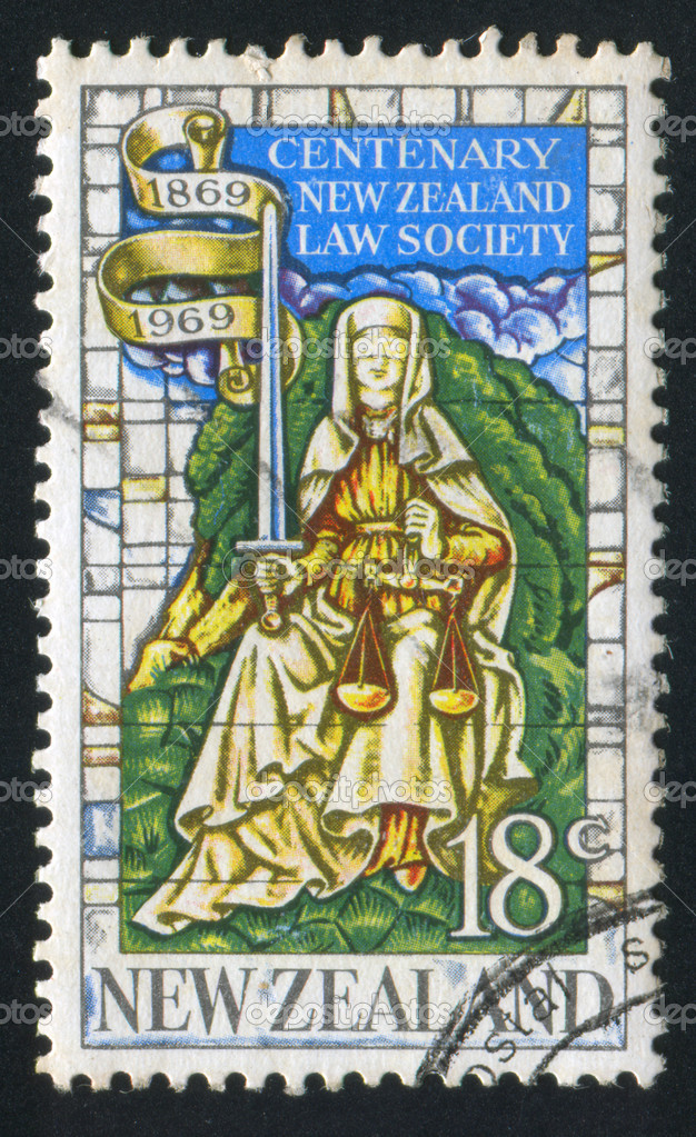 "NEW ZEALAND - CIRCA 1969: stamp printed by New Zealand, shows ""Justice"" from memorial window of the University of Canterbury Hall, Christchurch, circa 1969 — Stock Photo #10759138"