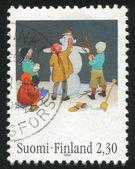 Children in make snowman — Stock Photo
