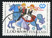 男孩和女孩骑飞马 — 图库照片