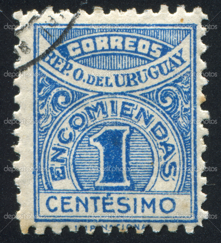 URUGUAY - CIRCA 1926: stamp printed by Uruguay, shows Numeral, circa 1926 — Stockfoto #11038713