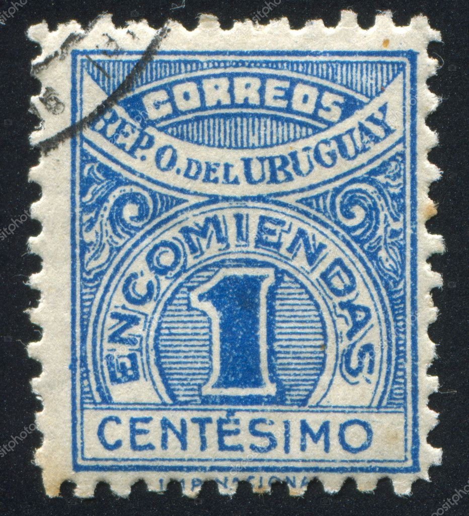URUGUAY - CIRCA 1926: stamp printed by Uruguay, shows Numeral, circa 1926  Foto de Stock   #11038713