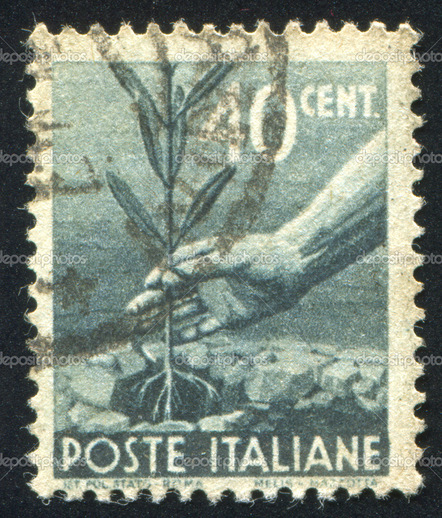 ITALY - CIRCA 1945: stamp printed by Italy, shows Planting Tree, circa 1945 — Stock Photo #11040015