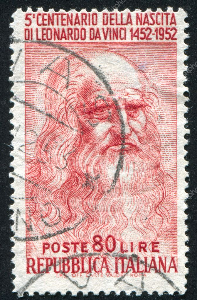 ITALY - CIRCA 1952: stamp printed by Italy, shows Leonardo da Vinci, circa 1952 — Stock Photo #11352790