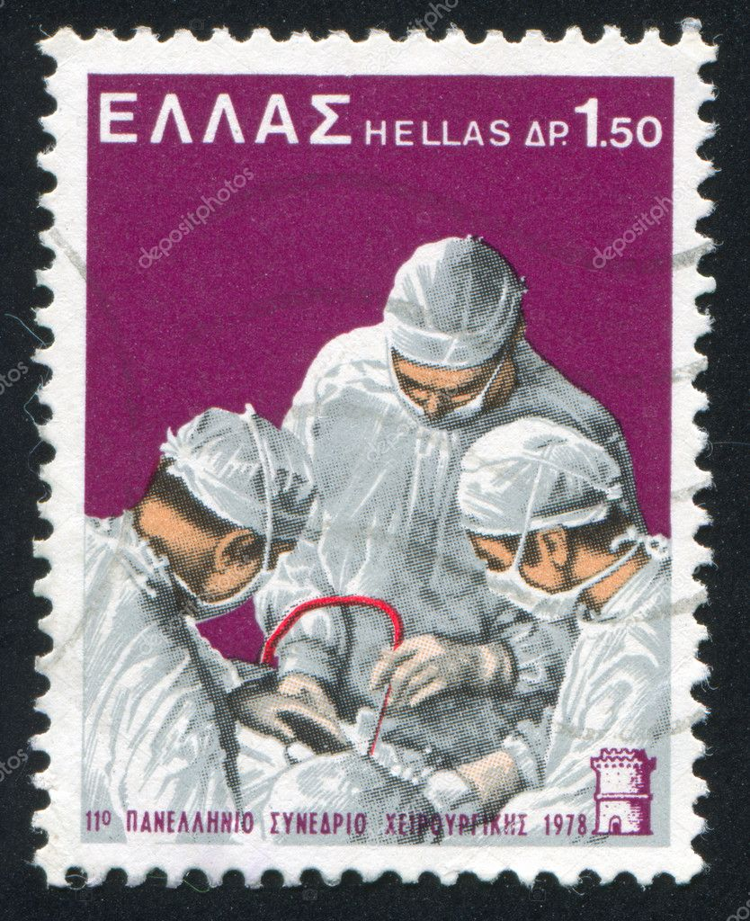 GREECE- CIRCA 1978: stamp printed by Greece, shows Surgeons, circa 1978 — Stock Photo #11363281