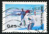Turistas esquí — Foto de Stock