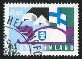 Finnish Flag and Fair Badge — Stock Photo