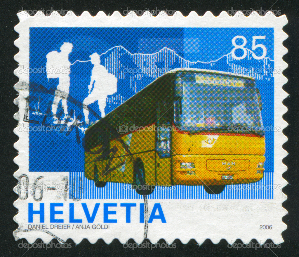 SWITZERLAND - CIRCA 2006: stamp printed by Switzerland, shows buses and passengers, circa 2006  Stock Photo #11703274