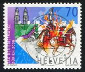 Stamp printed by Switzerland Rider — Stock Photo